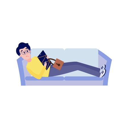 Blocked access to internet resources and information concept -upset man lying on sofa with chain-bound and locked digital tablet isolated on white background in flat vector illustration.