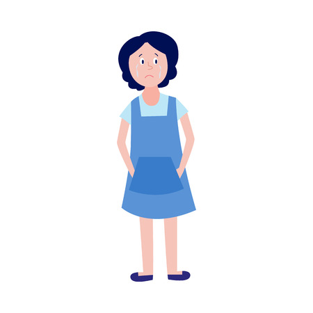 Crying little girl standing alone isolated on white background. Exhausted child with upset emotion and tears on face - depressed female character in flat cartoon vector illustration.