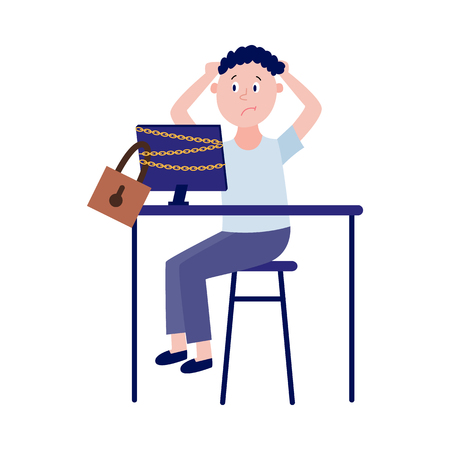 Blocked access to internet resources or parental control concept with upset boy sitting at table with chain-bound and locked computer monitor in flat isolated vector illustration. Illustration