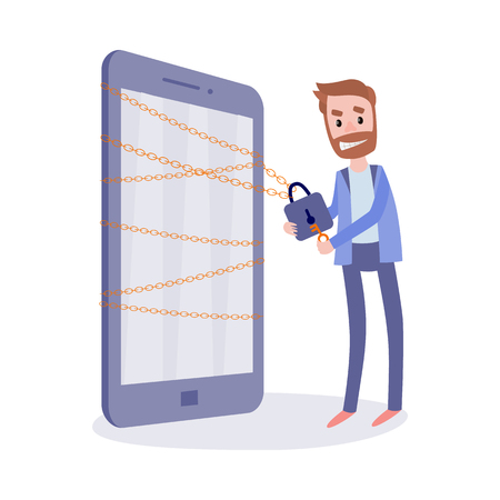 Internet ban bypass concept with young bearded man with insidious smirk trying to open lock on big mobile phone isolated on white background. Network cheating in flat vector illustration. Иллюстрация