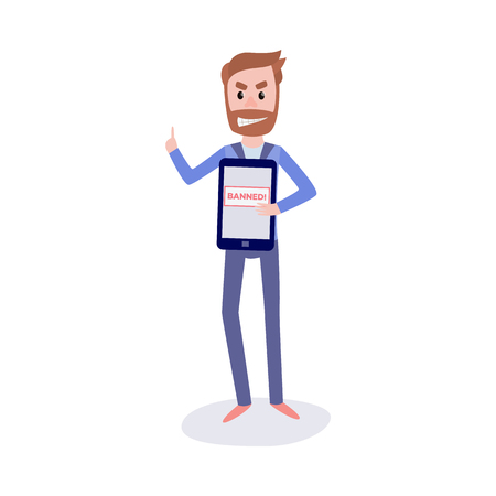 Blocked access to web pages concept with young bearded man standing with digital tablet and index finger up having idea how to bypass internet ban in flat isolated vector illustration.