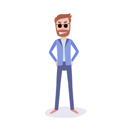 Young bearded man in business suit nd sunglasses with insidious smirk on face standing with hands in sides isolated on white background. Male cartoon character in flat vector illustration. Illustration