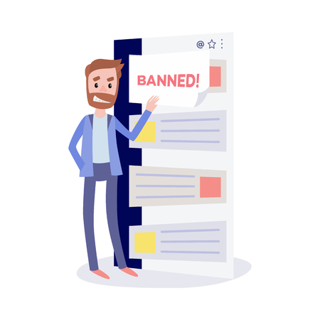 Internet ban bypass concept with young bearded man with insidious smirk opening closed messages in chat isolated on white background - cheating in network in flat vector illustration. Иллюстрация