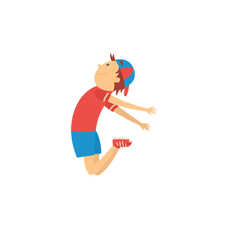 Cheerful boy teen kid dancing in cap in hip hop style jumping. Male cute character smiling having fun. Young happy dancer teenager. Vector isolated illustration.