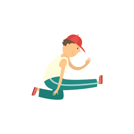 Cheerful boy teen kid dancing in cap in hip hop style. Male cute character smiling having fun. Young happy dancer teenager. Vector isolated illustration. Illustration