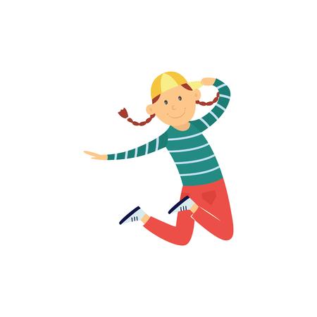 Cheerful girl teen kid dancing in cap in hip hop style jumping. Female cute character smiling having fun. Young happy dancer teenager. Vector isolated illustration.