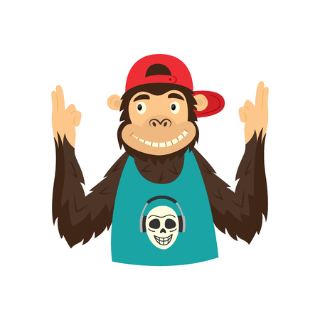 Funny hipster monkey character in cap and sleeveless tshirt holding hands like a gun. Hip hop style ape animal character concept. Vector isolated illustration.
