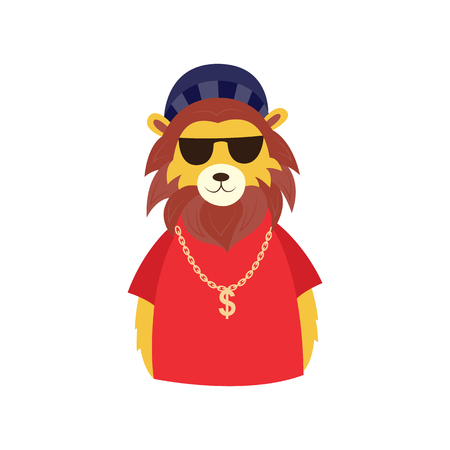 Funny hipster lion character in sunglasses, cap and big golden chain with dollar. Hip hop style animal character concept. Vector isolated illustration.