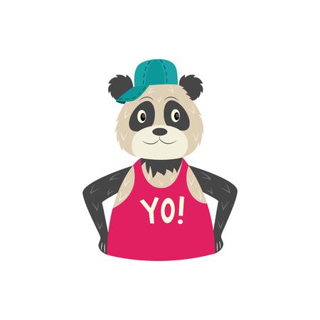 Divertido personaje de panda hipster en gorra y camiseta sin mangas con inscripción yo. Concepto de carácter animal de estilo hip hop. Ilustración aislada del vector. Ilustración de vector