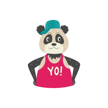 Funny hipster panda character in cap and and sleeveless tshirt with yo inscription. Hip hop style animal character concept. Vector isolated illustration.