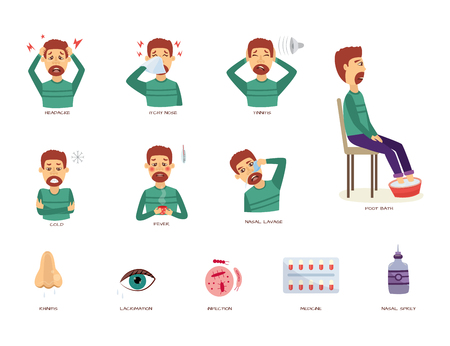 Vector rhinitis symptoms set. Man suffering from runny and itchy nose, headache and pain in ears - tinnitus, cold and flu with fever and eye lacrimation. Vector illustration