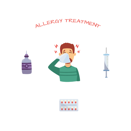 Unhappy man suffering from rhinitis and allergy holding napkin and remedy and treatments set - pills blister, syringe and nasal spray. Sick male character, unwell person with disease. Vector Illustration