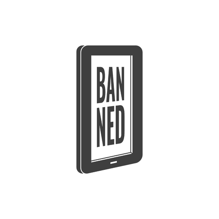 Internet website access forbidden concept with tablet screen with banned message black silhouette icon. Web ban symbol. Global communication problems and modern technologies. Vector illustration. Illustration