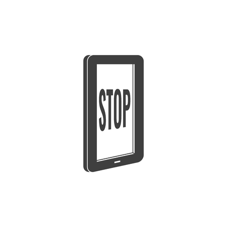 Internet website access forbidden concept with tablet screen with stop message black silhouette icon. Web ban symbol. Global communication problems and modern technologies. Vector illustration.