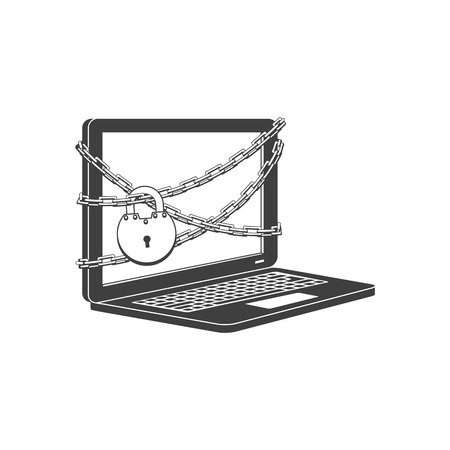 Internet website access forbidden concept with laptop chained by chain with lock black outline icon. Web ban symbol. Global communication problems and modern technologies. Vector illustration. Çizim