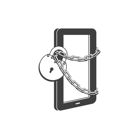 Internet website access forbidden concept with tablet chained by chain with lock black outline icon. Web ban symbol. Global communication problems and modern technologies. Vector illustration.