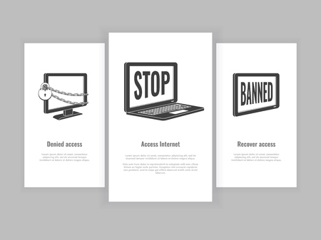 Internet website access forbidden poster set with laptop, tablet and pc monitor chained by chain with lock, banned message black outline icon. Web ban symbol. Global communication problem vector