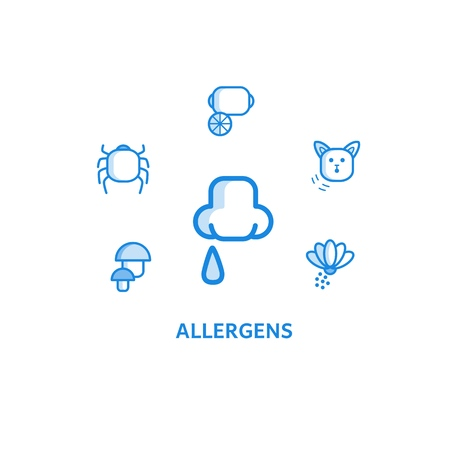 Allergy outline icons set with runny nose and various allergens around it isolated on white background - causes of humans allergic disease such as food, pollen and animals in line vector illustration. Иллюстрация