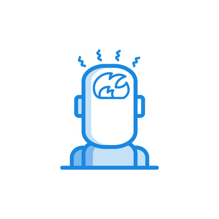 Headache and temperature outline icon in blue color. Migraine, head pain stylized pictogram with fire in head. Unwell symptom illustration with disease health problem. Vector illustration.