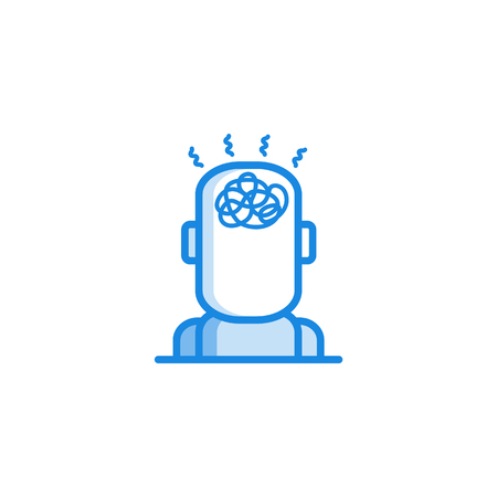 Headache and dizziness outline icon in blue color. Migraine, head pain stylized pictogram with hurricane in head. Unwell symptom illustration with disease health problem. Vector illustration. Çizim