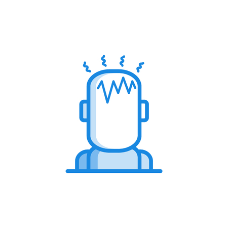 Headache outline icon in blue color. Migraine, head pain stylized pictogram with pulsing in head. Unwell symptom illustration with disease health problem. Vector illustration. Illustration