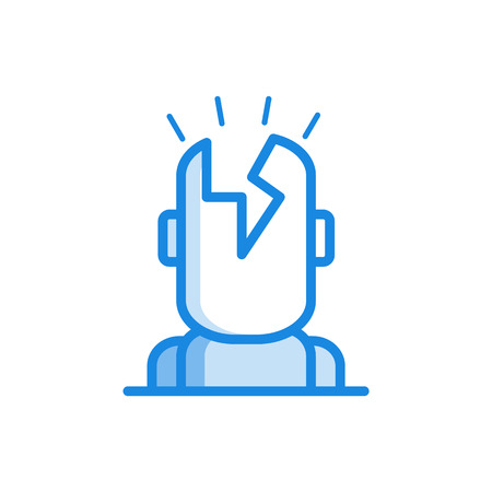 Headache outline icon in blue color. Migraine, head pain stylized pictogram with lighting in head. Unwell symptom illustration with disease health problem. Vector illustration.
