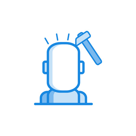 Headache outline icon in blue color. Migraine, head pain stylized pictogram with hummer smashing head. Unwell symptom illustration with disease health problem. Vector illustration.