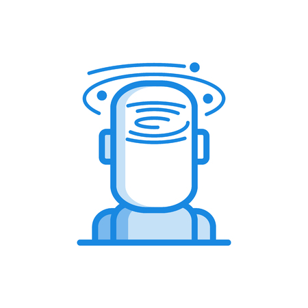 Headache and dizziness outline icon in blue color. Migraine, head pain stylized pictogram with hurricane around head. Unwell symptom illustration with disease health problem. Vector illustration.