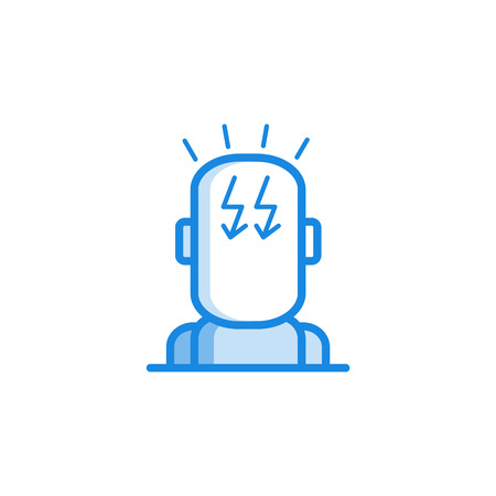 Headache icon with symbol of thunderstorm in human head isolated on white background. Outline vector illustration of sickness symptom of pain - disease and healthcare concept.