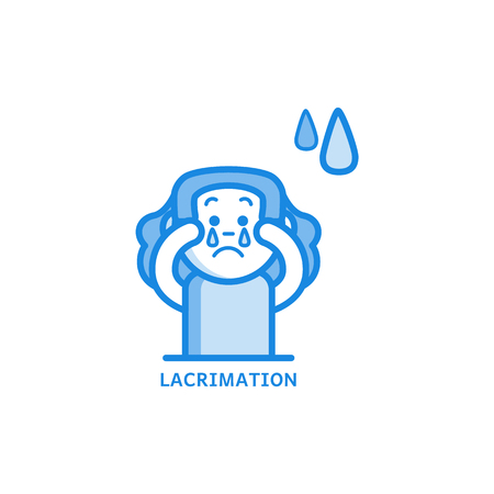 Increased lacrimation line icon - symptom of disease or allergy isolated on white background. Sick female character with tearing eyes in outline vector illustration.