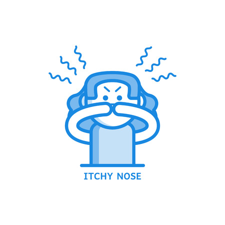 Itchy and runny nose line icon - symptom of disease or allergy isolated on white background. Sick female character with irritation of nose in outline vector illustration.
