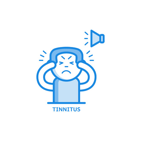 Tinnitus thin icon - symptom of otolaryngology disease isolated on white background. Sick male character hearing loud sound or ringing in ears in outline vector illustration.