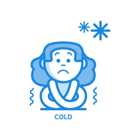 Junge Frau mit kaltem dünnem Symbol - Symptom einer Infektions- oder Viruserkrankung isoliert auf weißem Hintergrund. Kranke weibliche Figur, die vor Kälte in der Umrissvektorillustration zittert und zittert.