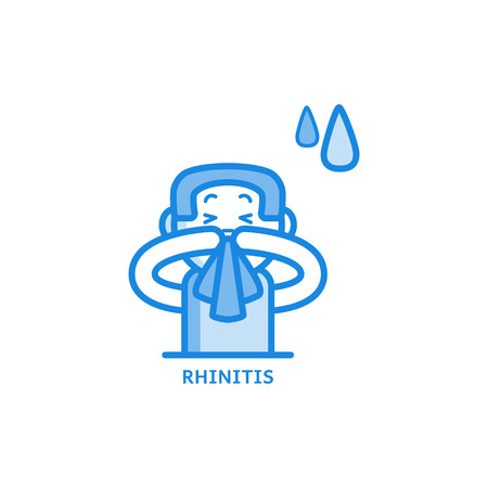Young man with runny nose sneezing into handkerchief thin icon - symptom of rhinitis or allergy isolated on white background. Sick male character having irritated nose in outline vector illustration. Banque d'images - 116901465