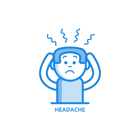 Man with headache holding his head with hands because of pain isolated on white background - sick male character with symptom of disease or stress in outline vector illustration. Stock Illustratie