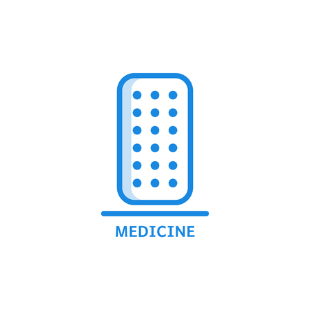Medicine thin icon - blister with dosed pills isolated on white background. Outline pharmaceutical treatment or vitamins in form of tablets or capsules in outline vector illustration. Ilustração