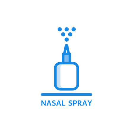Nasal spray thin icon - plastic bottle with medicament spraying droplets up isolated on white background. Outline vector illustration of liquid pharmaceutical treatment. Illustration