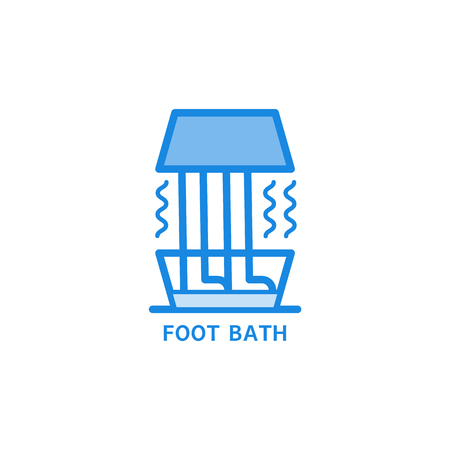 Foot bath line icon - treatment with warm water or relaxation in spa salon symbol isolated on white background. Salt or herbal therapy for healthcare and beauty concept in outline vector illustration.
