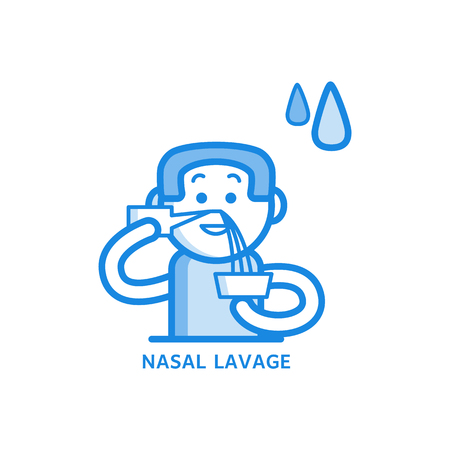 Nasal irrigation and lavage process line icon - man washing his sinuses in nose with water or medicine isolated on white background. Procedure of personal hygiene in outline vector illustration.