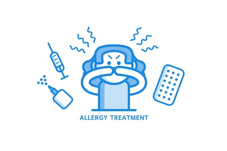 Allergy treatment concept with young woman having allergic rhinitis and various medicines around her - girl with hay fever and methods of treatment in outline vector illustration. Çizim