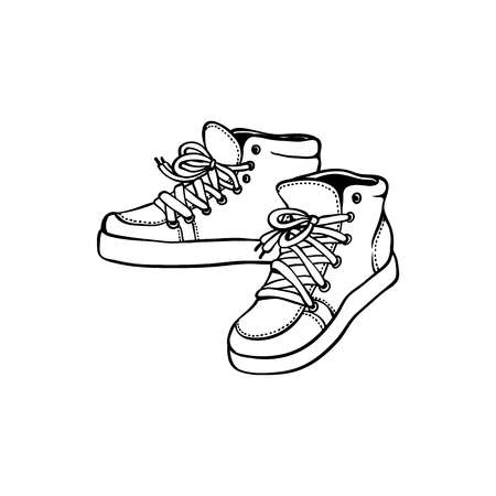 Sketch vintage sneakers black silhouette icon. Hand drawn sport clothing, 80s 90s retro footwear, hipster shoe for active lifestyle. Vector illustration.  イラスト・ベクター素材