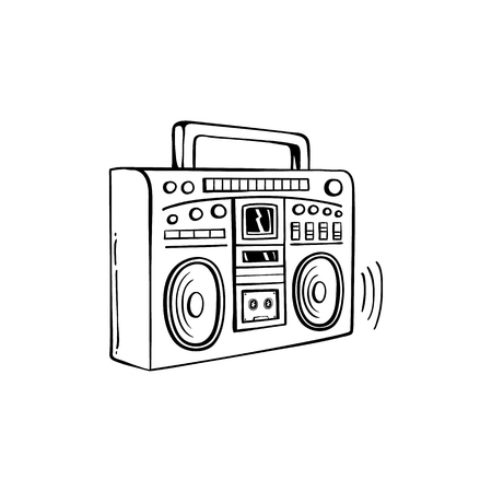Sketch retro 80s, 90s boombox or cassette tape player. Vintage street music audio speaker, hip hop rap and disco music oldschool party portable electonic equipment. Vector illustration Illustration