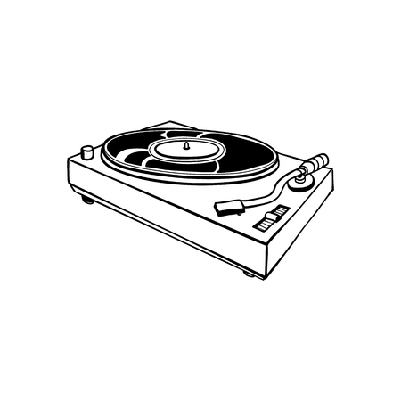 Sketch vintage vinyl player with needle or dj club turnable equipment in black silhouette icon. Retro sound equipment, musical playing tool for party. Vector illustration