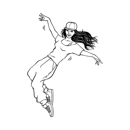 Young sketch girl with long hair in cap, sneakers dancing in hip hop rap street style. Female character in silhouette black icon style. Teen woman dancer. Vector illustration