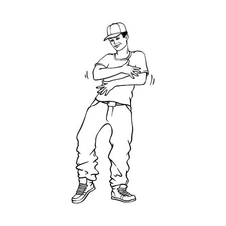 Concepto de estilo hip-hop o rap con hombre joven en zapatillas y snapback de pie en estilo rapero aislado sobre fondo blanco. Ilustración de vector de línea dibujada a mano negra de la cultura urbana juvenil.