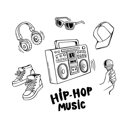 Hip-hop music set with boombox and various rapper style clothes and accessories isolated on white background. Hand drawn line vector illustration of urban youth culture elements. Stock Illustratie