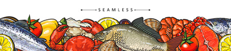 Vector illustration of seafood border seamless pattern with various edible marine animals and vegetables. Colorful hand drawn fishes, shells and crustaceans for sea food restaurant or market design.