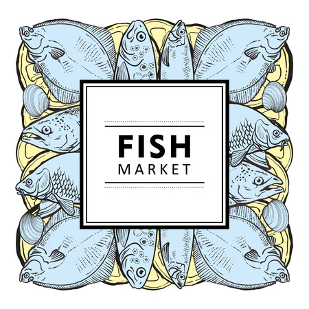 Vector fish market, seafood restaurant, cafe logo, advertising poster with underwater animals sketch square pattern on abstract splash. Marine composition with tuna, trout flatfish with lemon slice Stock Illustratie