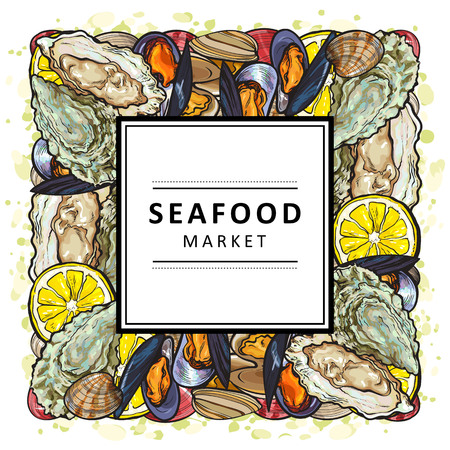 Vector seafood market restaurant, cafe logo, advertising poster with underwater animals delicacy sketch square pattern. Marine composition with mussels, oyster seashell with lemon slice in frame  イラスト・ベクター素材