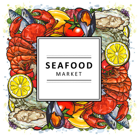 Vector illustration of seafood market banner with different colorful delicacy marine animals formed as square shape with white label on top - hand drawn bright sea and ocean food.